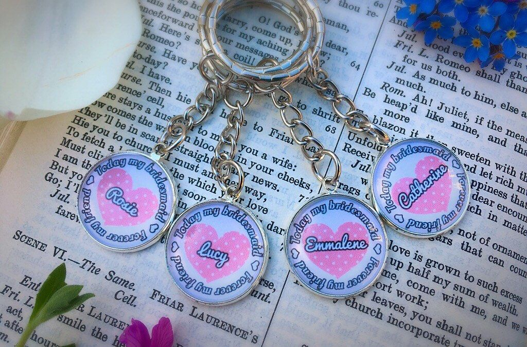 A personal favourite from my Etsy shop https://www.etsy.com/uk/listing/523264587/bridesmaid-quote-keyring-gift-today-my