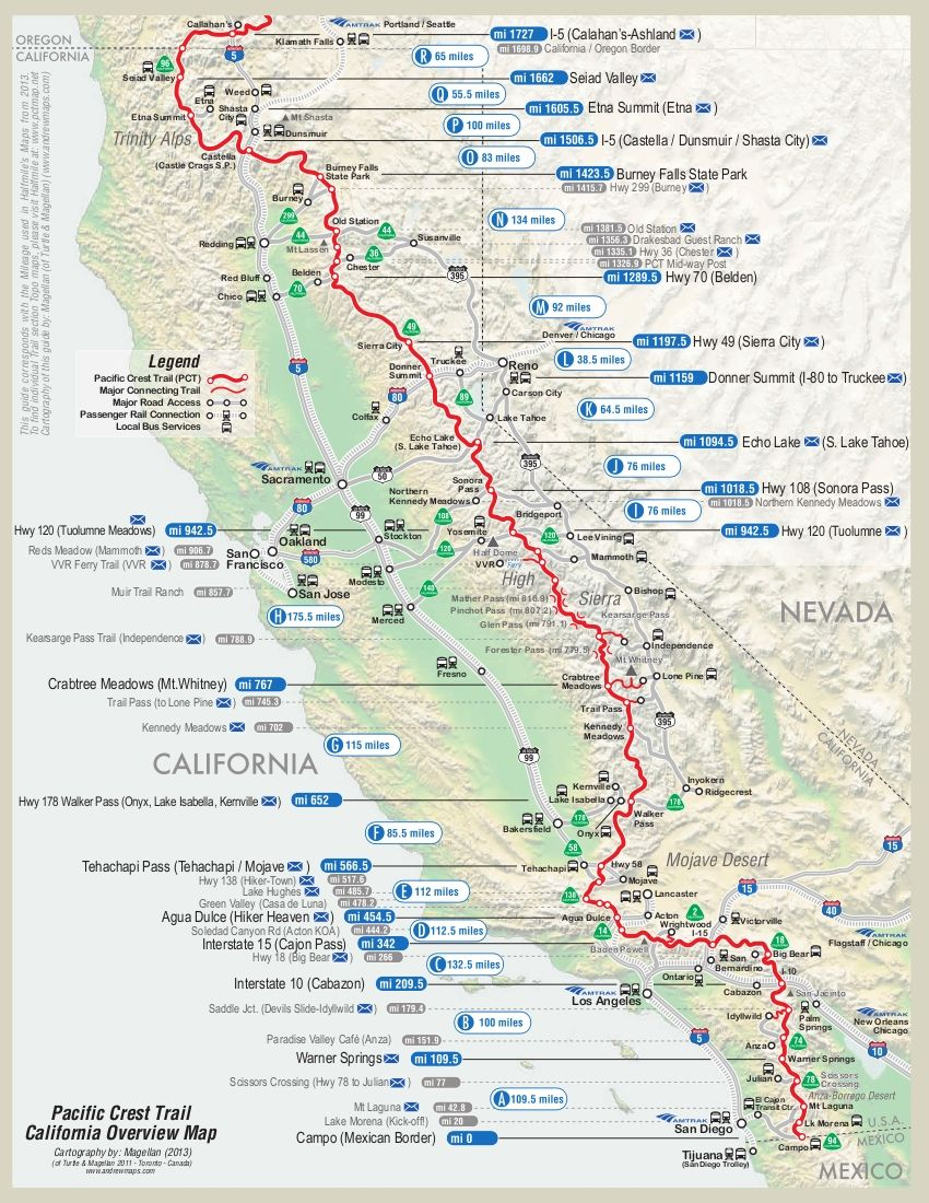 Pacific Crest Trail Map | Pacific crest trail, Camping and ...