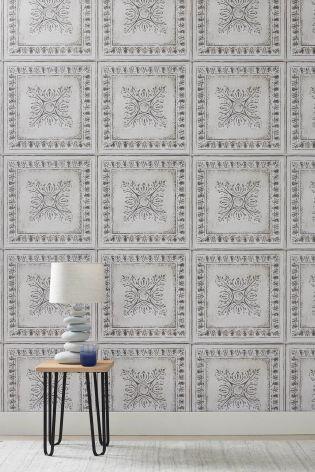 Buy White Tin Tile Look Wallpaper From The Next Uk Online Shop Tile Wallpaper Striped Wallpaper Tin Tiles