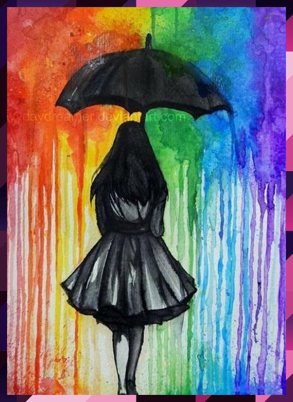 Wandern In The Rain Geschmolzene Wachsmalstiftkunst Ist Ein Grossartiges Nachmit Ein Geschmolzene Grossartiges In 2020 Crayons Artwork Crayon Art Melted Crayon Art