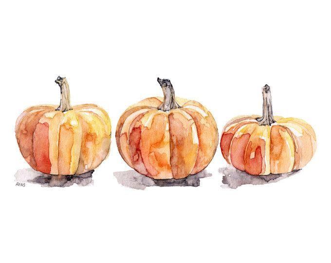 watercolor pumpkins print painting titledthree pumpkins fall decor orange - Pumpkin Pictures To Print