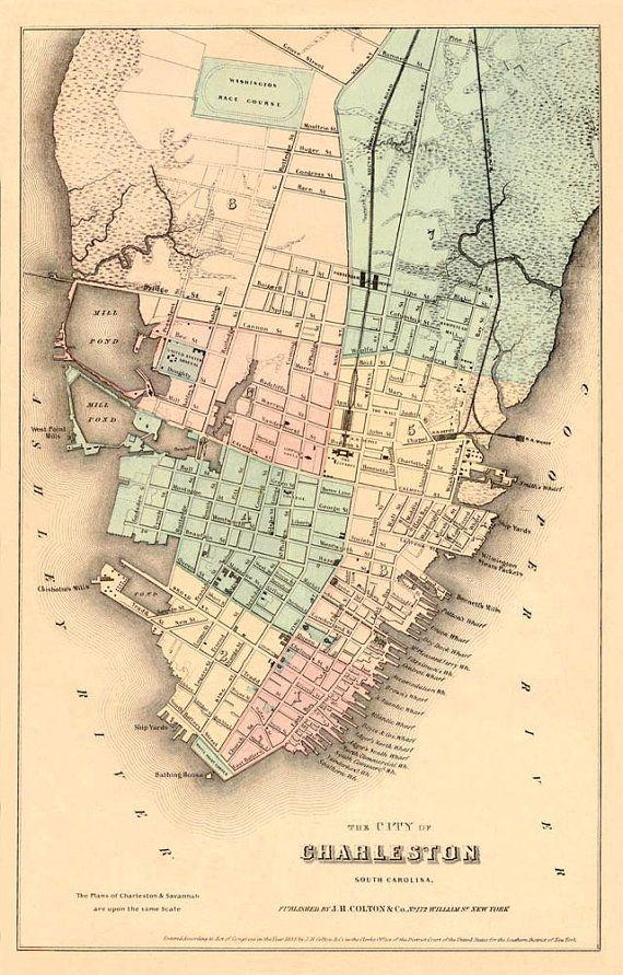 Vintage South Carolina Map.Charleston Map Antique Map Historic Map Print Vintage City Map