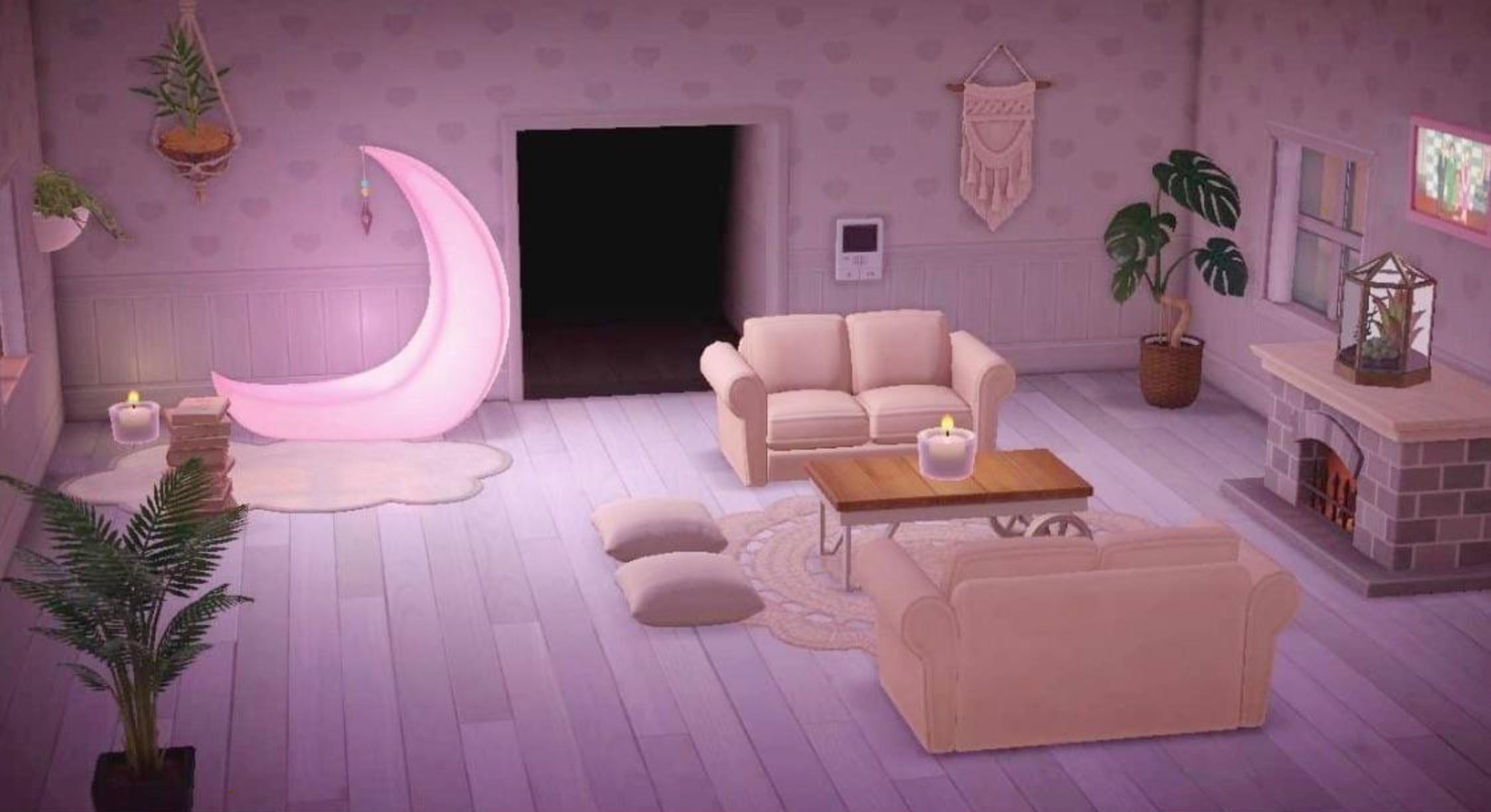 Animal Crossing Pink Moon Plant Living Room in 8  Animal