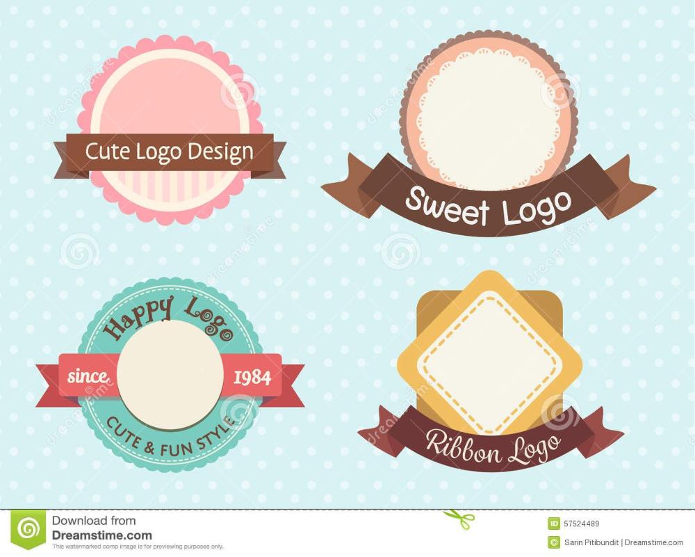 Cute And Sweet Pastel Vintage Premium Logo Stock