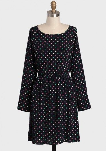 Birthday Polka Dot Dress 36.99 at shopruche.com. A colorful polka dot pattern adorns this dark navy polka dot dress. Perfected with a back cutout and an elastic waistband, this long sleeved frock can be dressed up with heels and statement jewelry, or toned down with tights and flats.100% Polyester, Made in USA,...