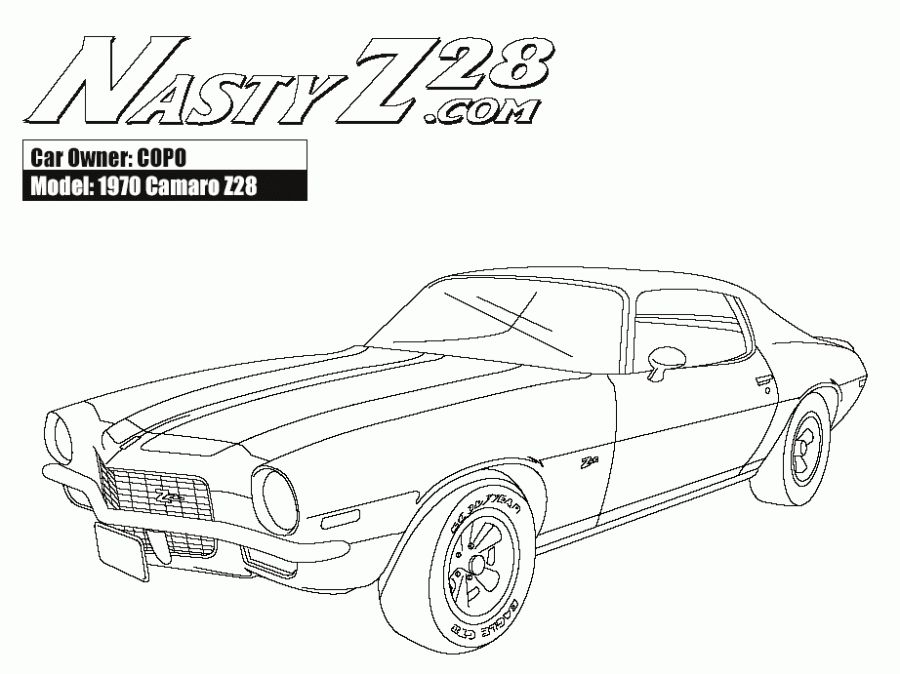 muscle car coloring pages - online american muscle car camaro z28 coloring pages