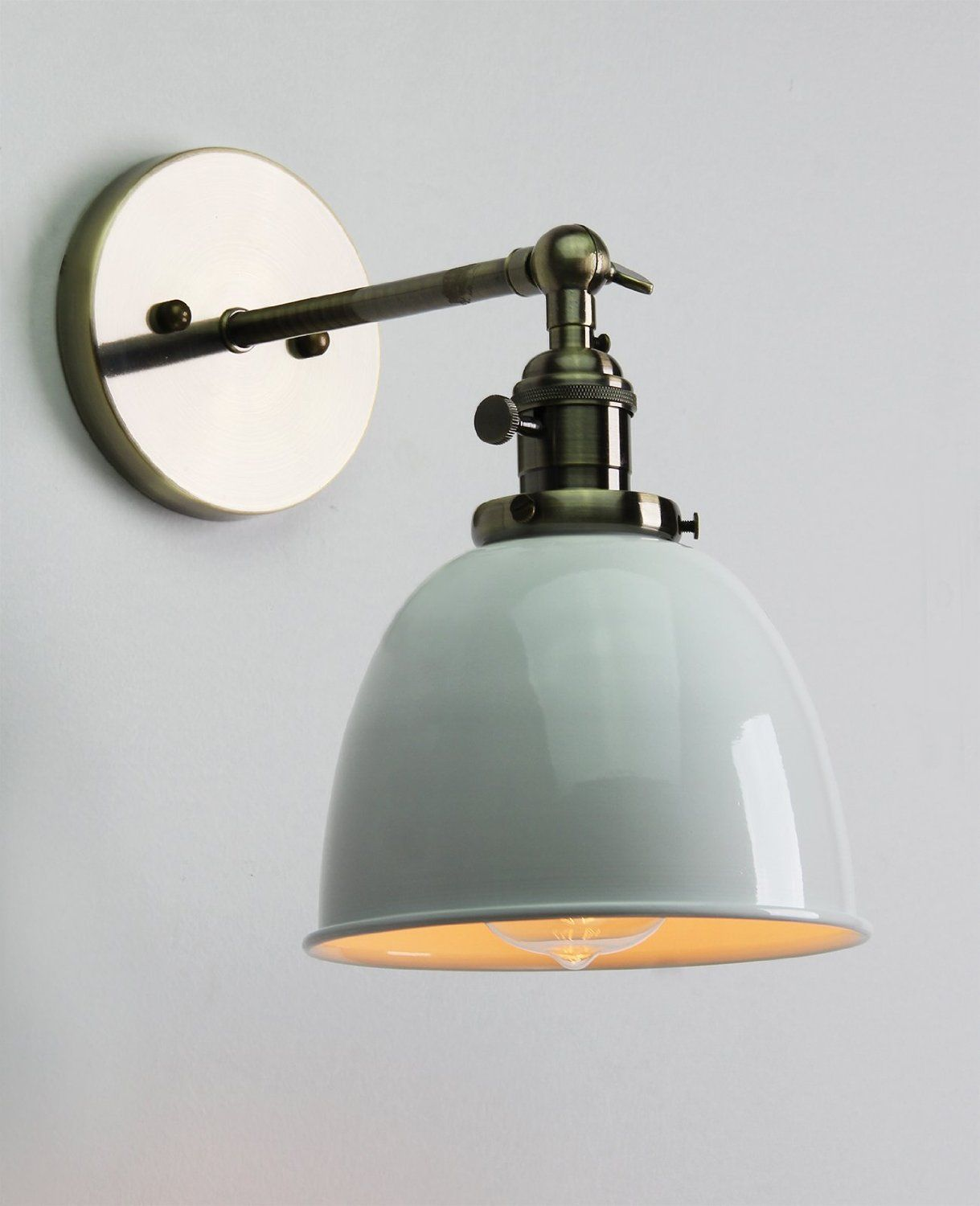 permo 6.3-inch metal dome shade industrial wall sconce lighting