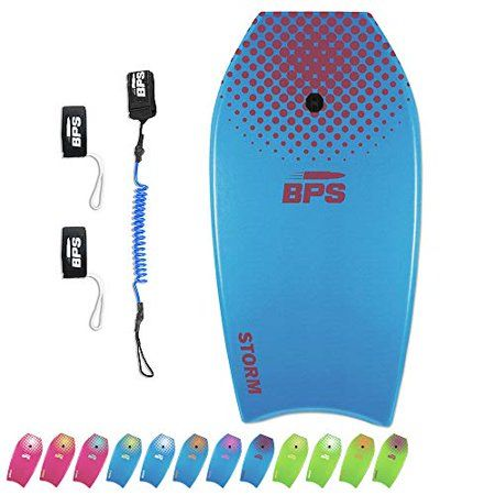 BPS STORM Bodyboard Pack comes w / one Super lightweight BodyBoard (just choose from the four cool colors) and BPS PREMIUM coiled bodyboard leash (MRRP $16.99 on its own), plus a set of fin tethers to make sure you don't lose your swim fins in the waves. PLEASE NOTE: Pack includes one bodyboard, one leash, and two fin savers. Leash and Fin tethers will be at the very bottom of the board wrapped in a tight bundle underneath the plastic wrapping. The STORM Body Board is amazingly light and feature