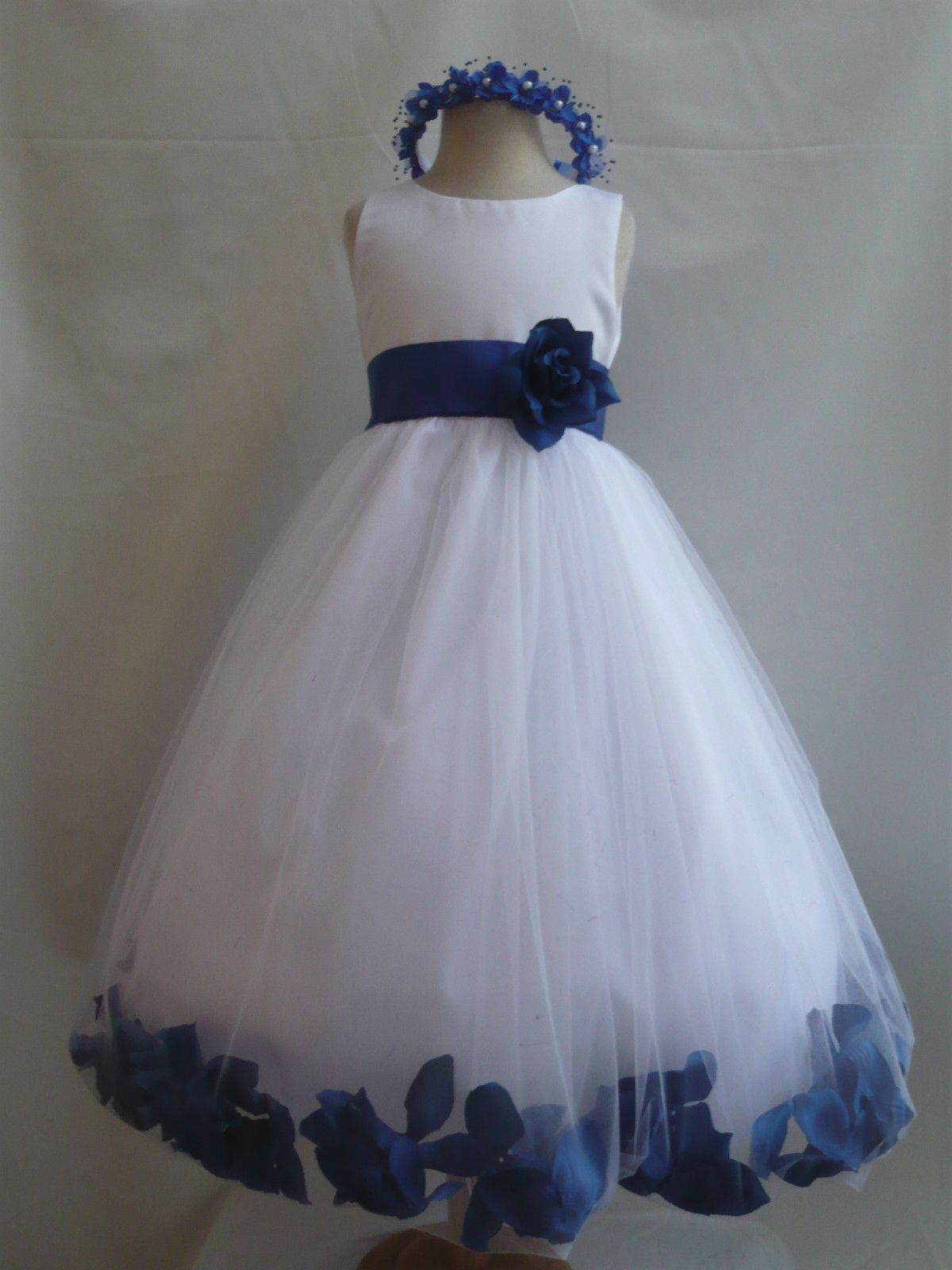 f00f205436d7 NWT WHITE ROYAL BLUE WEDDING FLOWER GIRL DRESSES 6-12-18-24MO 2 4 6 ...