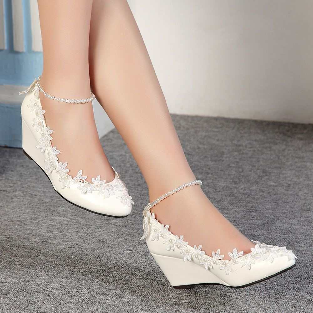 Lace white ivory crystal Wedding shoes Bridal flat low high heel wedge size  4-10  Laceup 5920e84c5b29