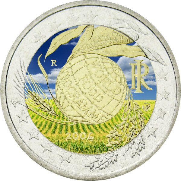 "N♡T.Italien 2 Euro ""F.A.O."" 2004 farbig in Kapsel"