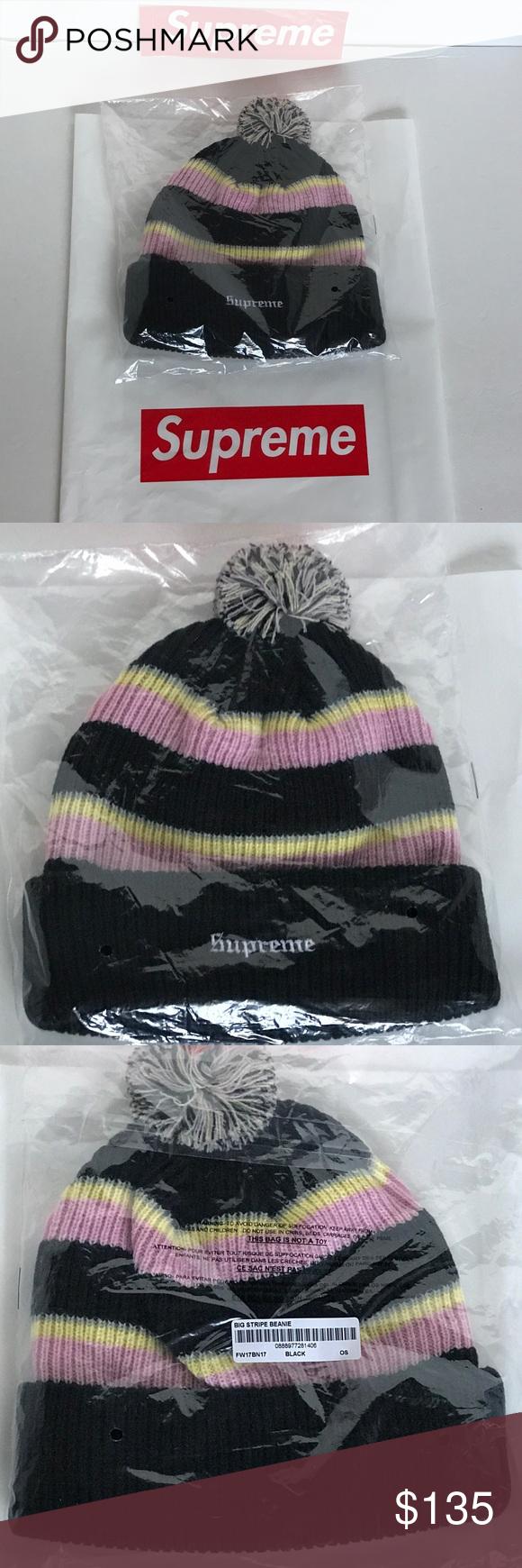 85a103513b043 SUPREME Big Stripe Beanie Black Pink Os 100% Authentic Brand New ...