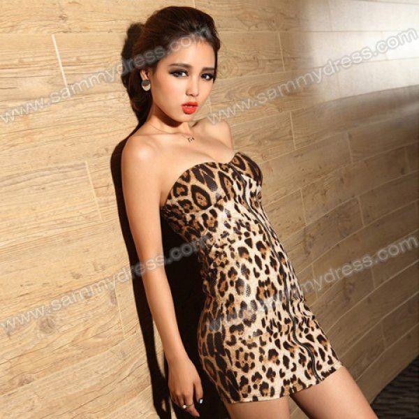8d27a5d9cf Sammydress.com  Photo Gallery - Sexy Strapless Yellow Leopard Print Club  Dress Zipper Front Bodycon Dress For Women