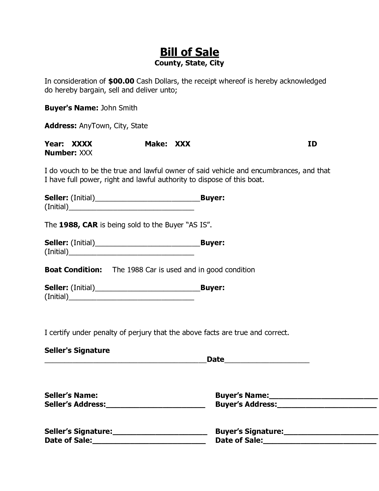 printable sample car bill of template form laywers printable sample car bill of template form