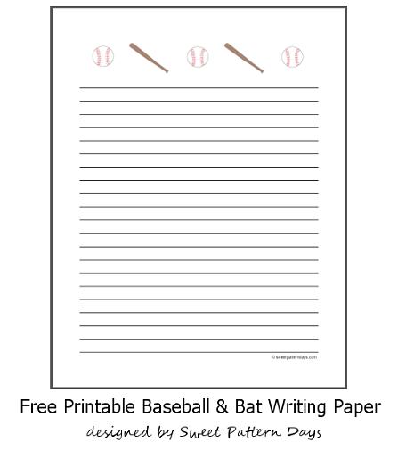 Free Printable Baseball and Bat Writing Paper | School