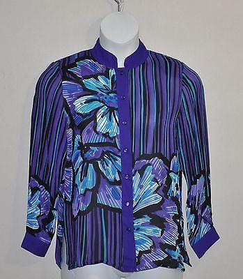 Bob Mackie Romantic Poppy Silk Button Down Shirt Size L Purple Multi