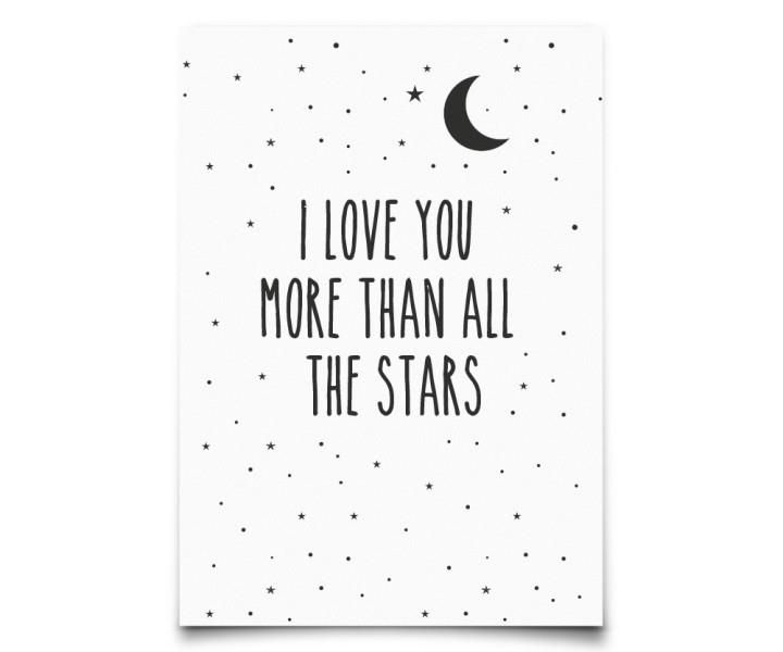 Postkaart Eef Lillemor I love you more than all the stars