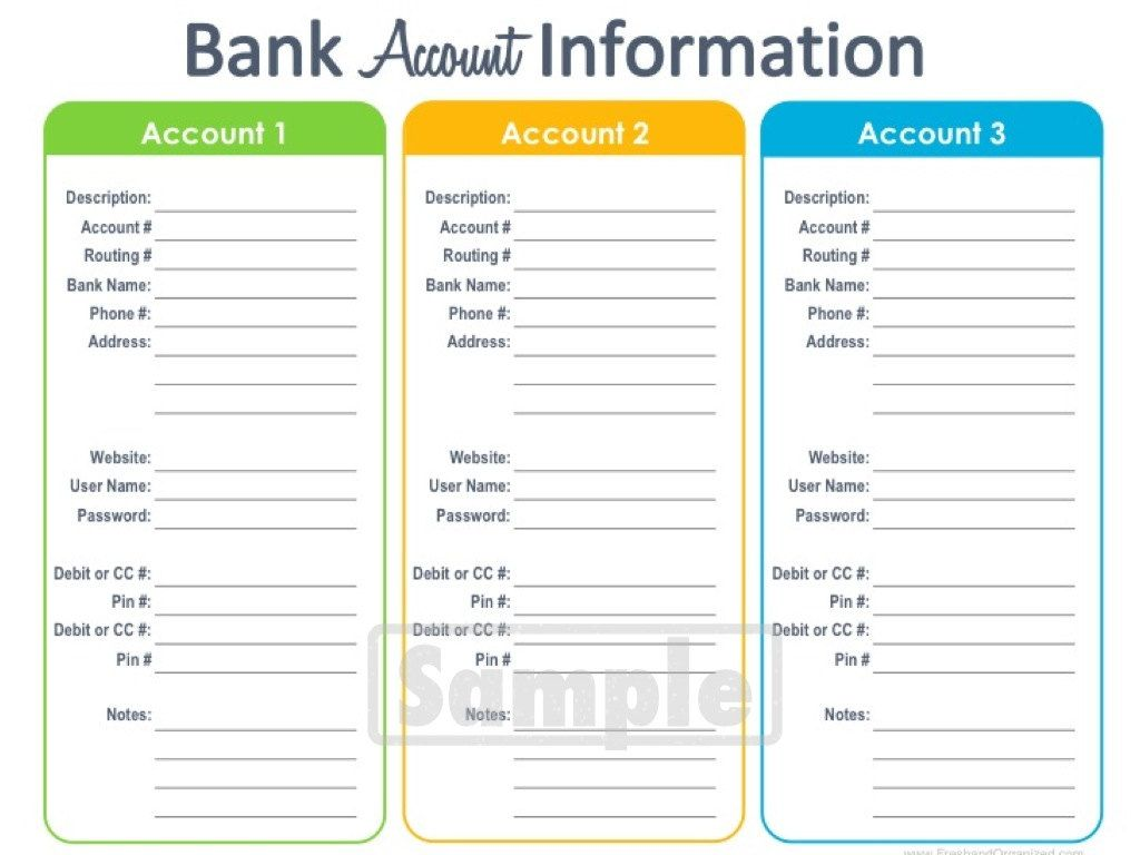 Bank Account Information Printable