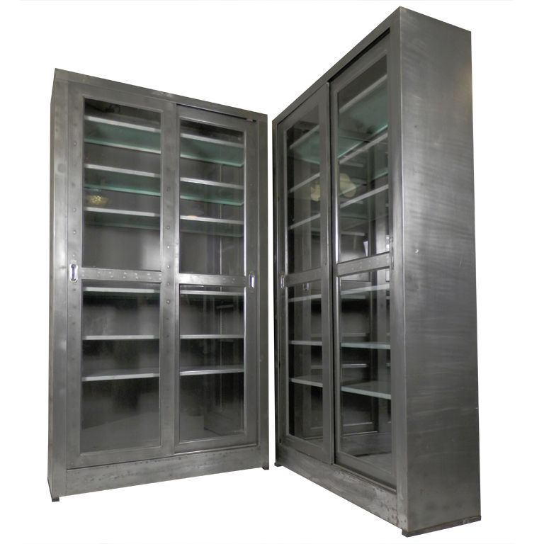 Charming Single Industrial Metal Cabinet W/ Sliding Glass Doors Pictures