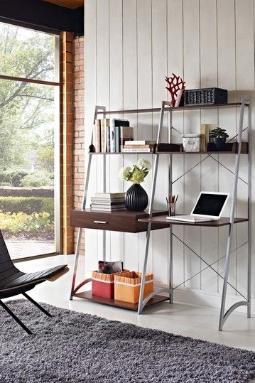 Beau Walnut Ladder Desk With Tower Bookcase By Doral Furniture On @HauteLook