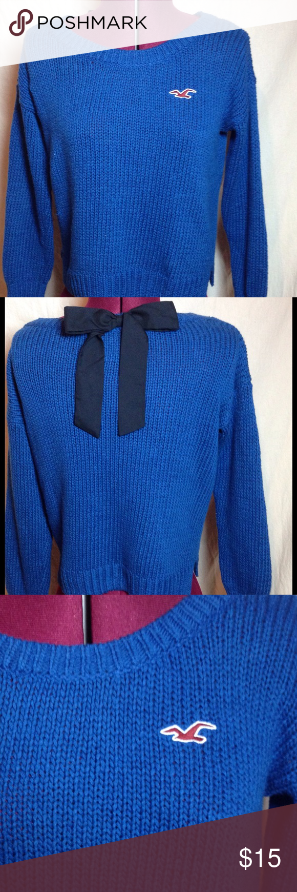 """Royal blue Hollister sweater with bow.  Size small Absolutely adorable sweater.  Cute with skirt,jeans, shorts....perfect for a cool summer day or eve.  3/4 length sleeves and black bow in back.  EUC.  Shoulder to hem 19.5"""".  Underarm to underarm 20"""".  60% cotton, 40% acrylic. Hollister Sweaters Crew & Scoop Necks"""