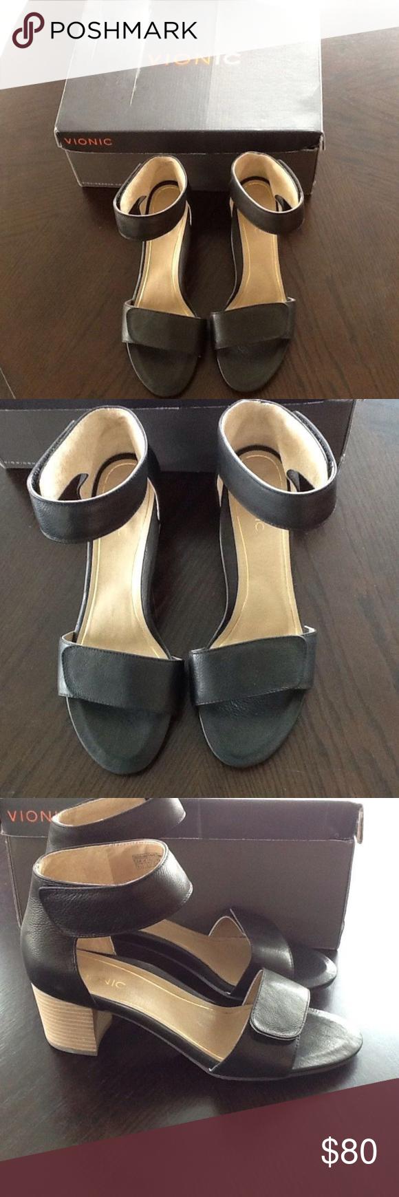 fb516d54427e Vionic Pep Solana Black Calf Sandals Womens 9.5 Vionic Pep Solana Black  Calf Sandals Womens 9.5