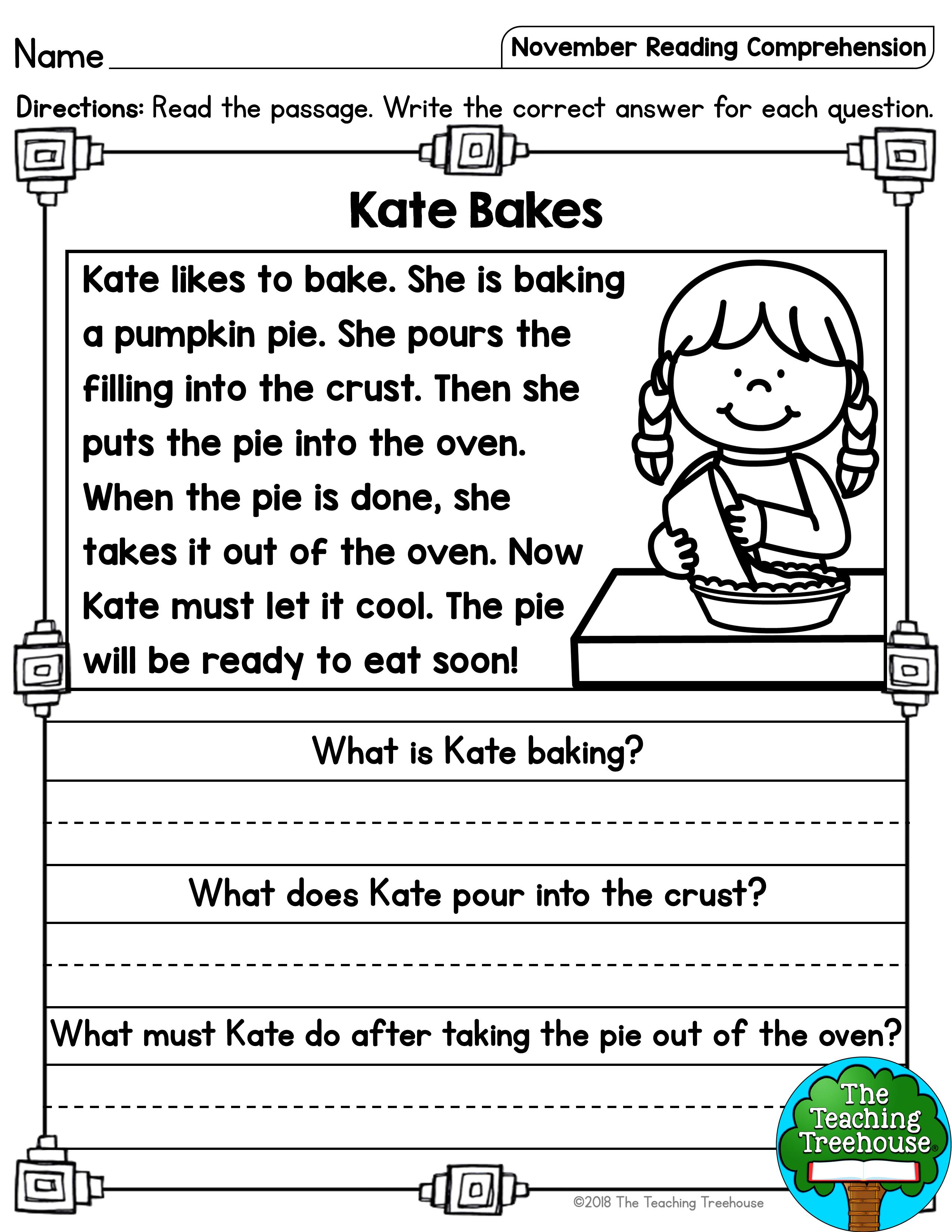 November Reading Comprehension Passages For Kindergarten And First Grade Reading Comprehension Reading Fluency Passages First Grade Reading Comprehension [ 3300 x 2550 Pixel ]