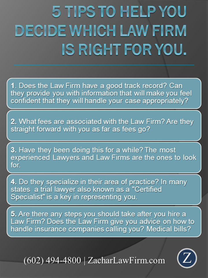 5 Tips To Help You Decide Which Law Firm Is Right For You Http Www Zacharassociates Com Phoenix Injury Lawye Injury Lawyer Law Firm Personal Injury Lawyer