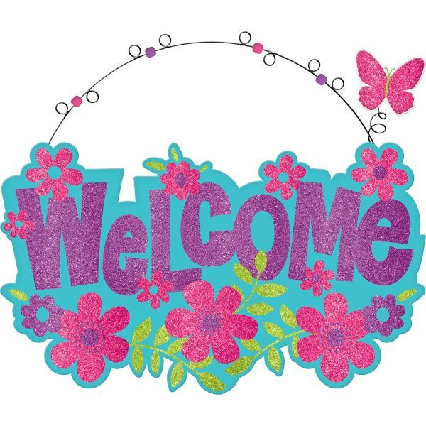 Glitter Spring Welcome Sign