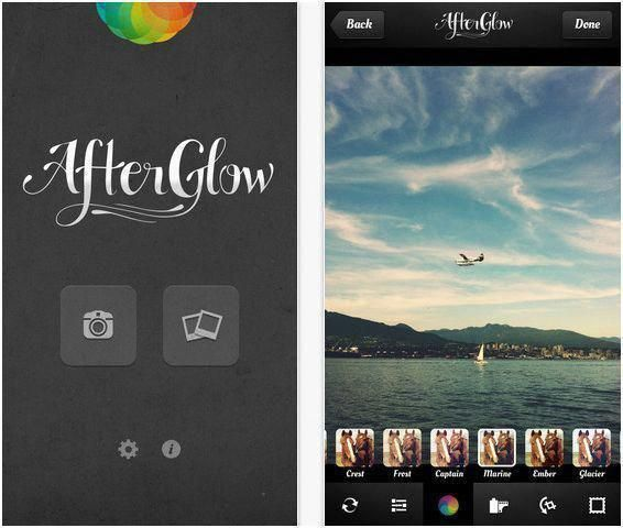 Afterglow photo editor app for iPhone