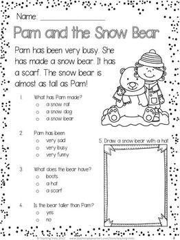 winter free reading comprehension activities kindergarten reading reading fluency reading. Black Bedroom Furniture Sets. Home Design Ideas
