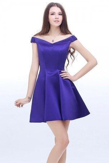 Robe De Bal Violette Courte En Satin Epaules Denudees Persun Fr Robe De Bal Robe Soiree Courte Robe De Bal Violette