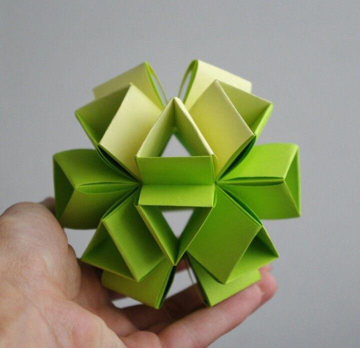 Green kusudama arts crafts kusudama origami pinterest origami basteln mit papier and - Papierkugeln basteln ...