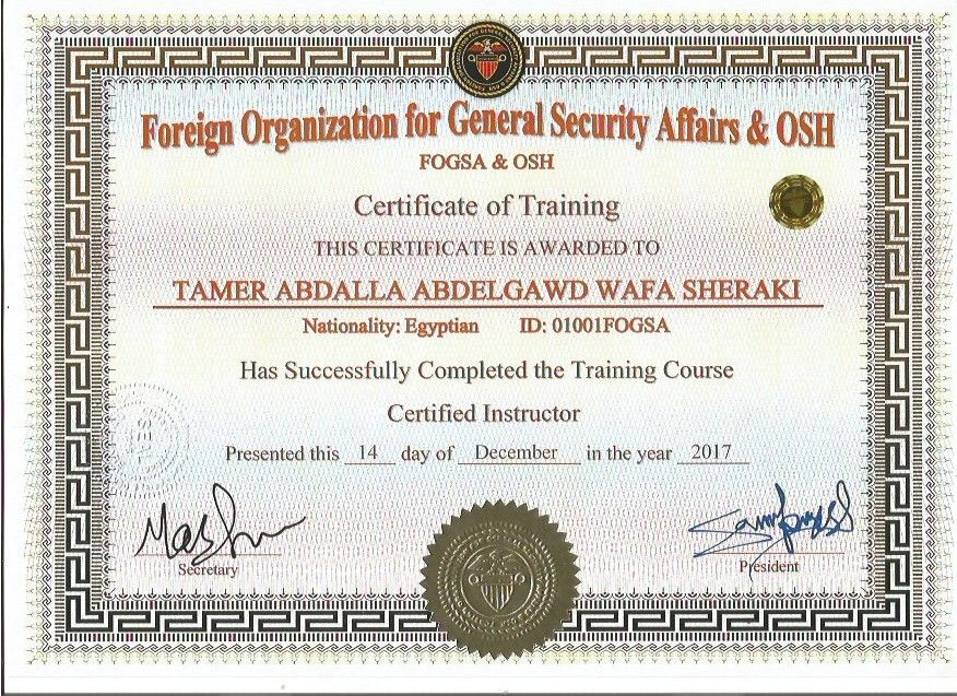Certificate Certified Instructor Foreign Organization For General Security Affairs Osh Http Fogsa Us D Social Security Card Training Courses Organization