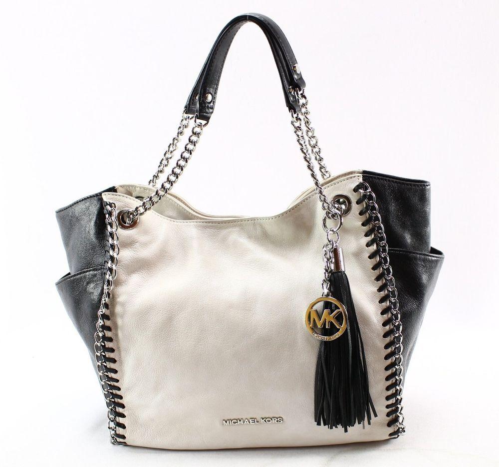 Michael Kors Chelsea Black White Colorblock Leather Chain Shoulder Tote Bag 398 Michaelkors Totespers