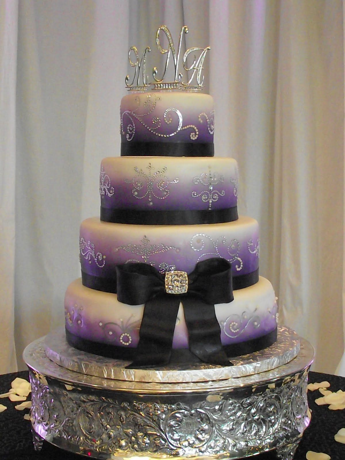 Purple And Silver Bling Wedding Cakes