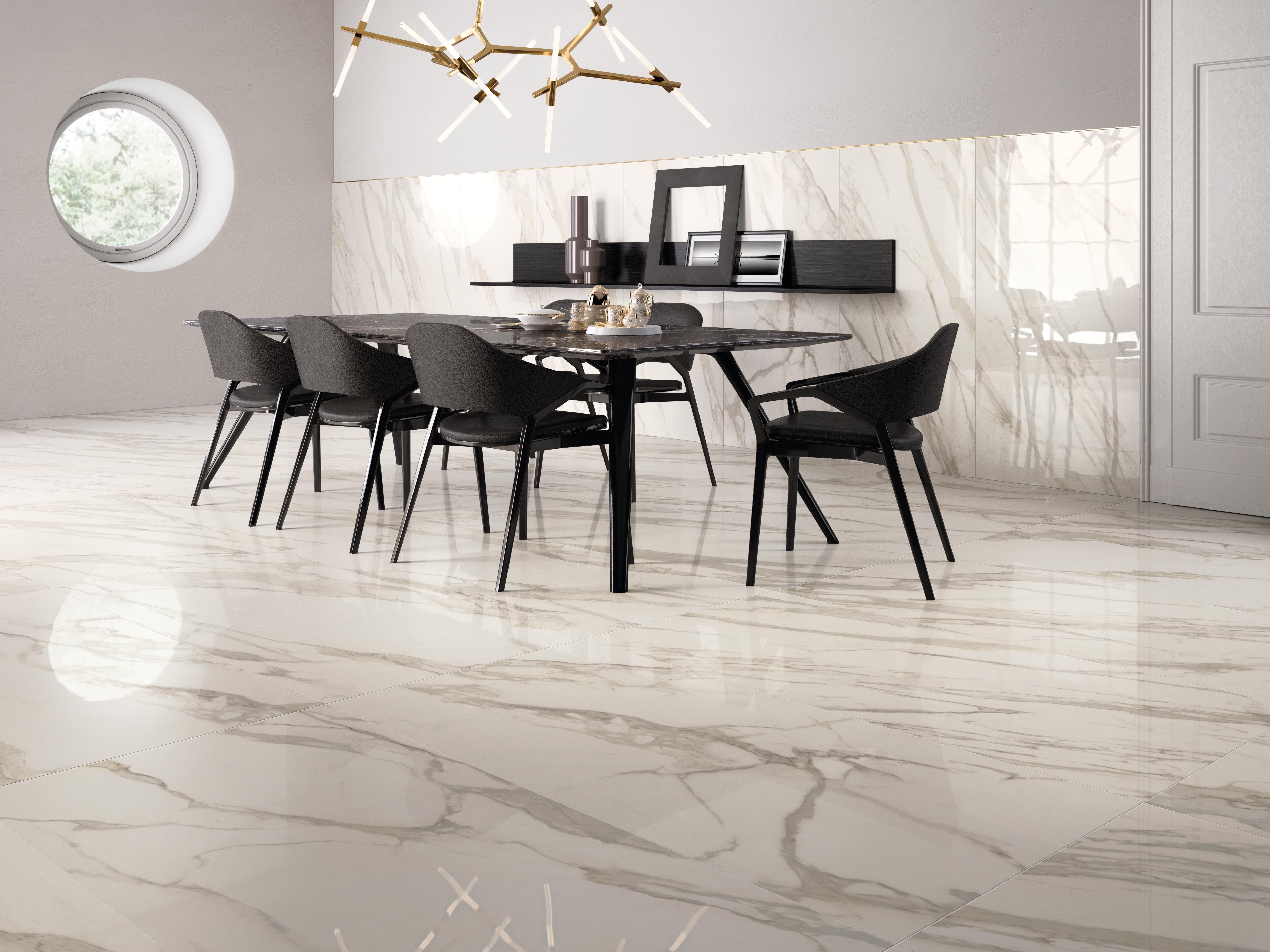 Sala da pranzo calacatta marbleeffect gres effetto marmo