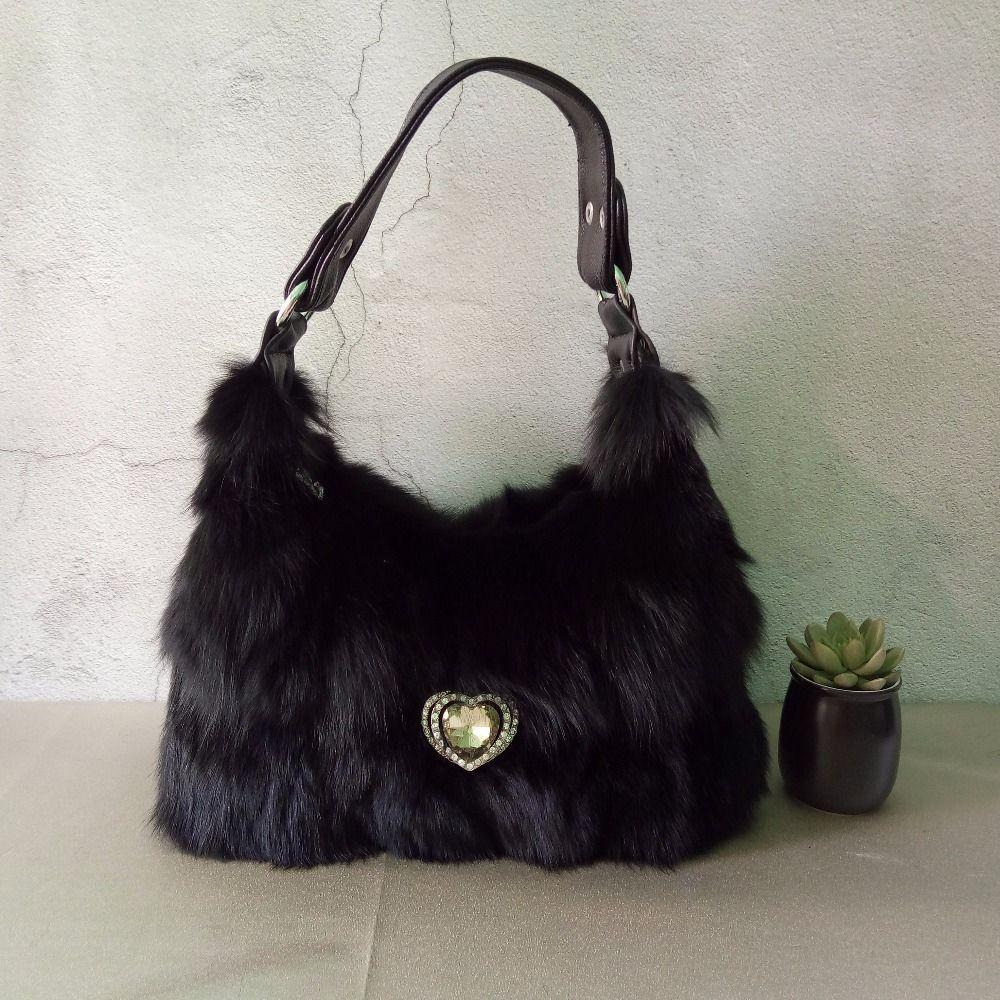ae573b132ad9 novelty women luxury real fox fur diamond tote handbag lady real fur one shoulder  bag hobos