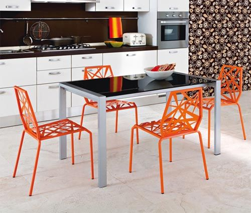Love The Orange Chairs And Dining Table Too