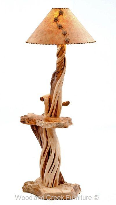 Log Floor Lamp Artistic Juniper Logs Cabin Decor Lodge Rustic Floor Lamps Rustic Lamps Floor Lamp