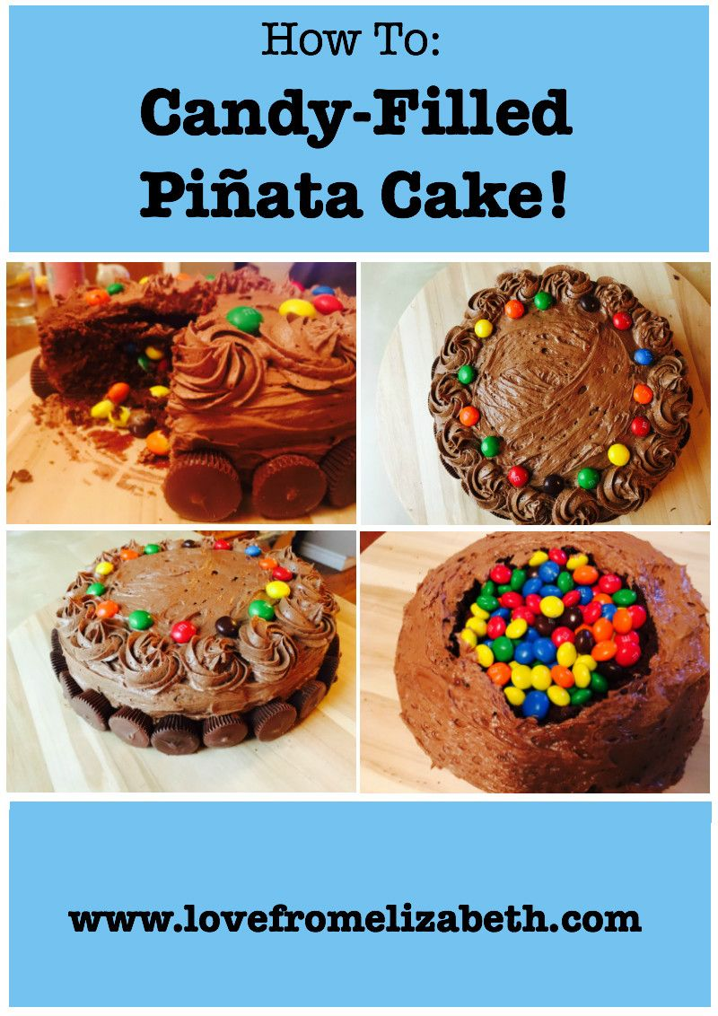 This Candy-Filled Piñata Cake is so simple to make and tons of fun to eat! Surprise your next birthday guest with this yummy recipe. Check it out here http://lovefromelizabeth.com/2016/11/02/candy-filled-pinata-cake/