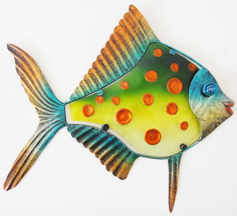 Fish Wall Art metal glass wall art - green orange spot fish | fish | pinterest