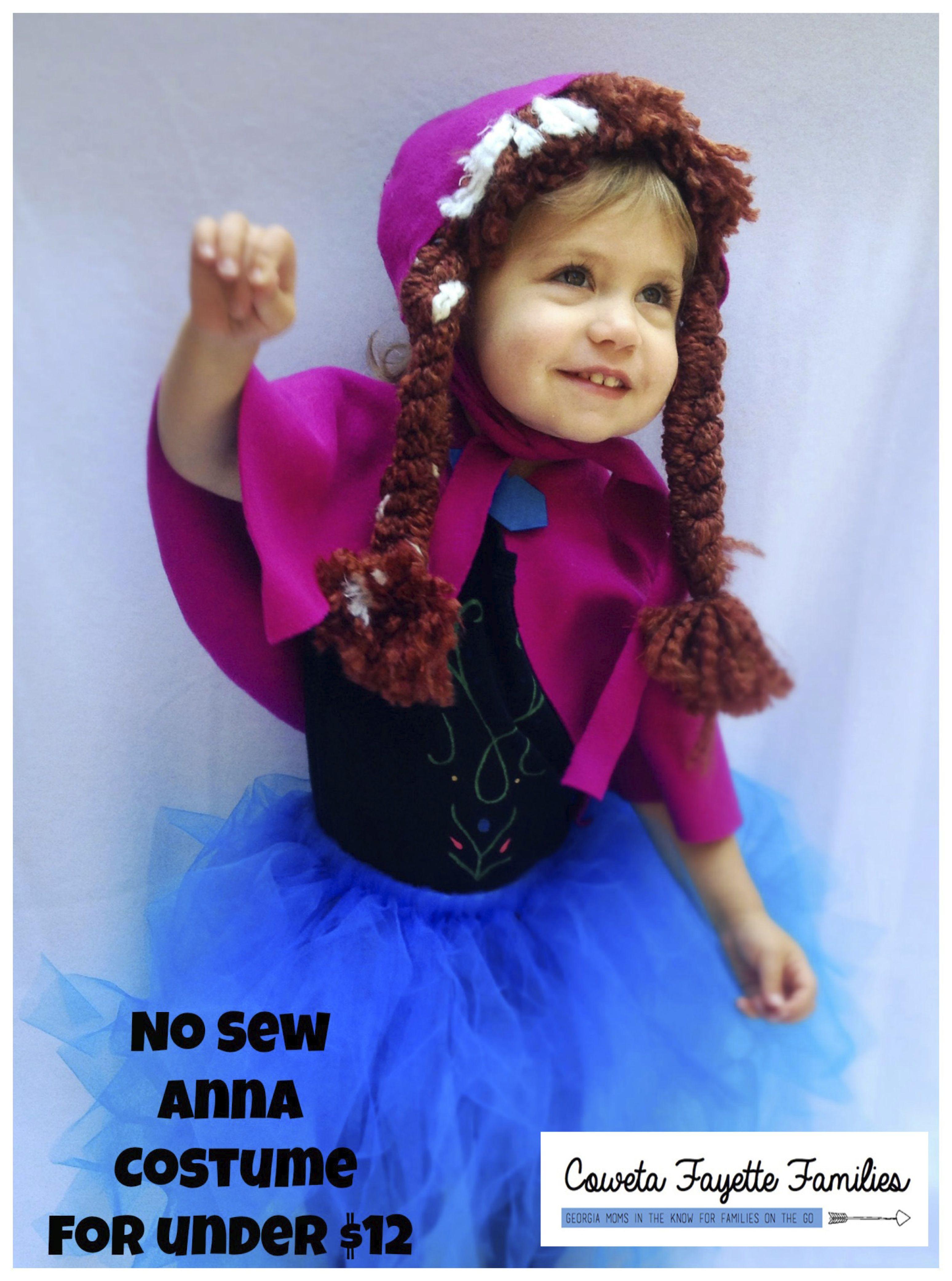 no sew anna costume for under 12 halloween frozen - Halloween Anna Costume