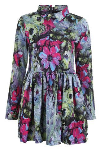 Zippered Flowers Print Green Dress - LoLoBu