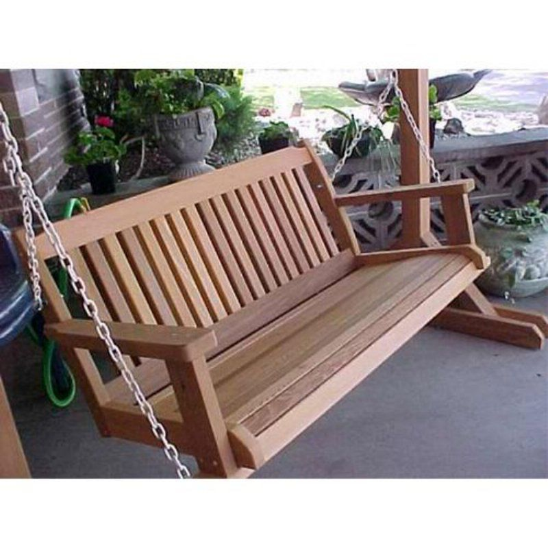 Wood Country Cabbage Hill 5 Ft Red Cedar Porch Swing Green Weathered 2ps Ch Grn Wooden Porch Porch Swing Plans