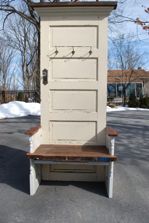 Antique 5 Panel Door Hall Tree 599 00 Via Etsy Door Hall Trees 5 Panel Doors Old Door Projects