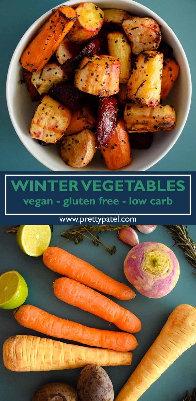 roasted winter vegetables, gluten free vegan, vegetarian, low carb
