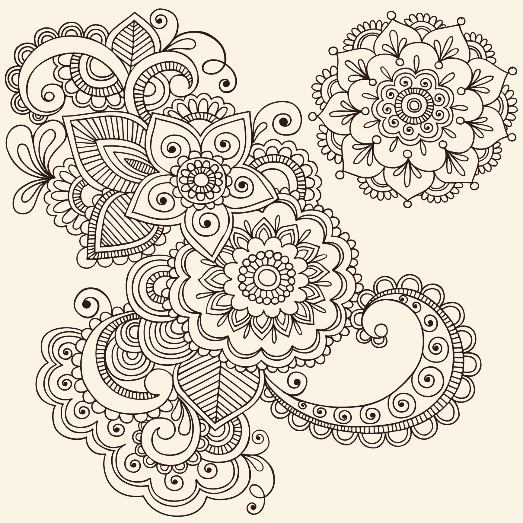 Coloring pages henna - Mandala Coloring Pages
