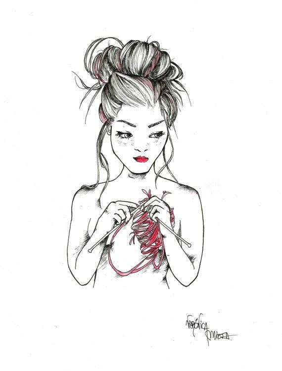 Print de ilustración original mujer tejiendo corazón | proyecto que ...