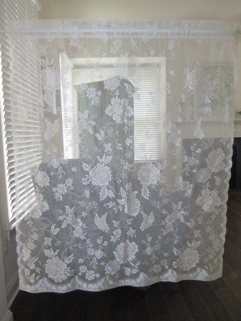 Off White Floral Lace Curtain Panel By Thecottageway On Etsy